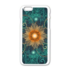 Beautiful Tangerine Orange And Teal Lotus Fractals Apple Iphone 6/6s White Enamel Case by beautifulfractals