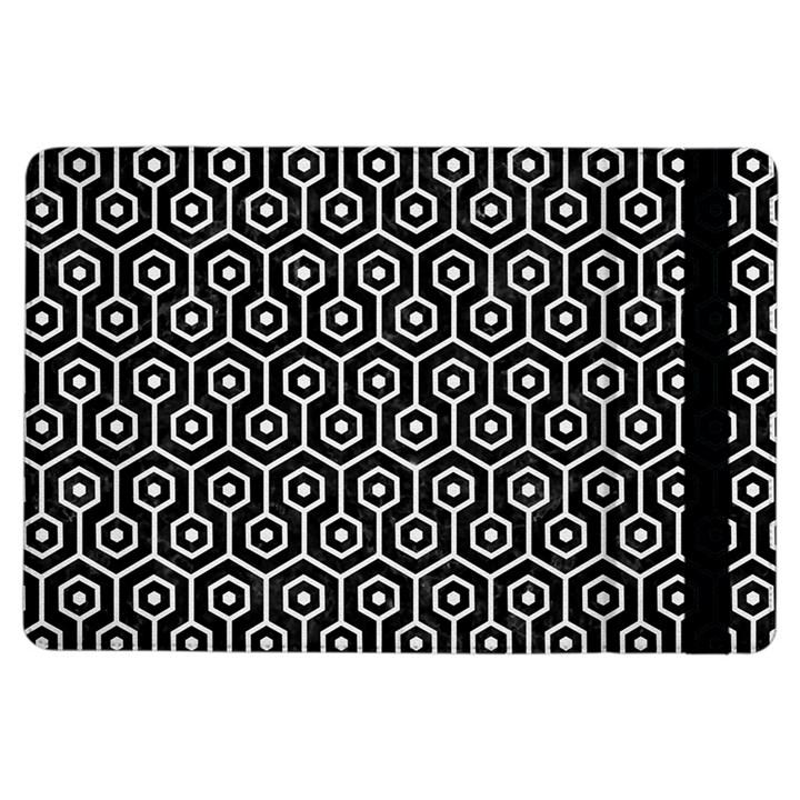 HEXAGON1 BLACK MARBLE & WHITE LINEN (R) iPad Air Flip