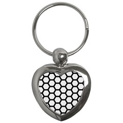 Hexagon2 Black Marble & White Linen Key Chains (heart)  by trendistuff