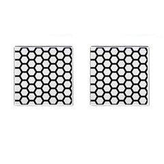 Hexagon2 Black Marble & White Linen Cufflinks (square) by trendistuff