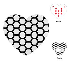 Hexagon2 Black Marble & White Linen Playing Cards (heart)  by trendistuff