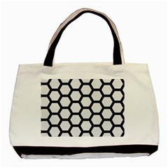 Hexagon2 Black Marble & White Linen Basic Tote Bag (two Sides) by trendistuff