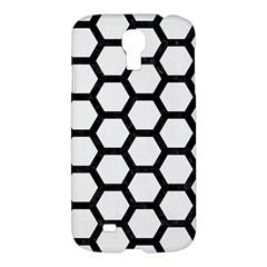 Hexagon2 Black Marble & White Linen Samsung Galaxy S4 I9500/i9505 Hardshell Case by trendistuff