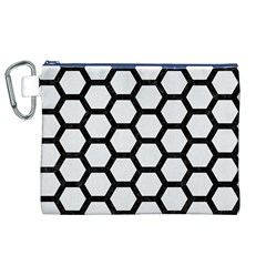 Hexagon2 Black Marble & White Linen Canvas Cosmetic Bag (xl) by trendistuff