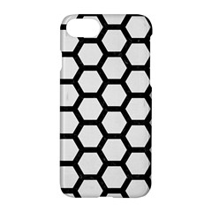 Hexagon2 Black Marble & White Linen Apple Iphone 8 Hardshell Case
