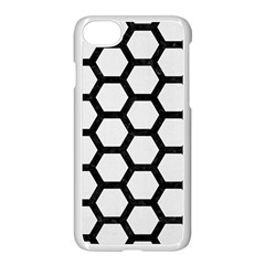 Hexagon2 Black Marble & White Linen Apple Iphone 8 Seamless Case (white) by trendistuff