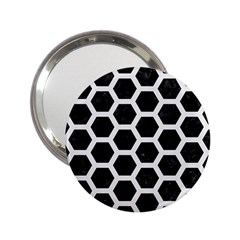 Hexagon2 Black Marble & White Linen (r) 2 25  Handbag Mirrors by trendistuff