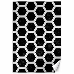 Hexagon2 Black Marble & White Linen (r) Canvas 20  X 30   by trendistuff