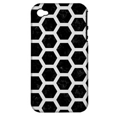 Hexagon2 Black Marble & White Linen (r) Apple Iphone 4/4s Hardshell Case (pc+silicone) by trendistuff