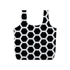 Hexagon2 Black Marble & White Linen (r) Full Print Recycle Bags (s)  by trendistuff