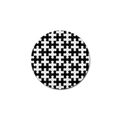 Puzzle1 Black Marble & White Linen Golf Ball Marker by trendistuff