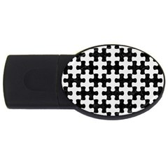 Puzzle1 Black Marble & White Linen Usb Flash Drive Oval (2 Gb) by trendistuff