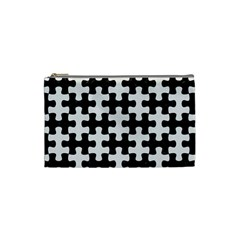 Puzzle1 Black Marble & White Linen Cosmetic Bag (small)  by trendistuff