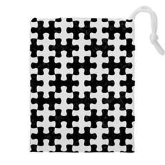 Puzzle1 Black Marble & White Linen Drawstring Pouches (xxl) by trendistuff