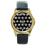 ROYAL1 BLACK MARBLE & WHITE LINEN Round Gold Metal Watch Front