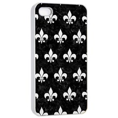 Royal1 Black Marble & White Linen Apple Iphone 4/4s Seamless Case (white) by trendistuff