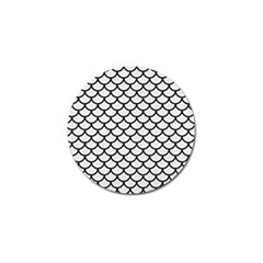 Scales1 Black Marble & White Linen Golf Ball Marker by trendistuff