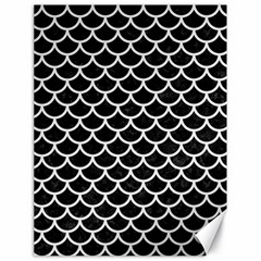 Scales1 Black Marble & White Linen (r) Canvas 18  X 24   by trendistuff