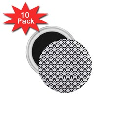 Scales2 Black Marble & White Linen 1 75  Magnets (10 Pack)  by trendistuff