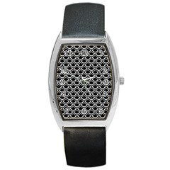 Scales2 Black Marble & White Linen (r) Barrel Style Metal Watch by trendistuff