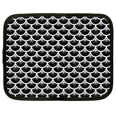 Scales3 Black Marble & White Linen (r) Netbook Case (large) by trendistuff