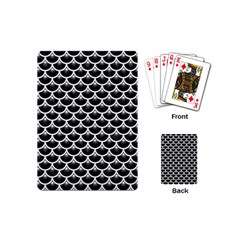 Scales3 Black Marble & White Linen (r) Playing Cards (mini)  by trendistuff