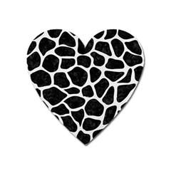 Skin1 Black Marble & White Linen Heart Magnet by trendistuff