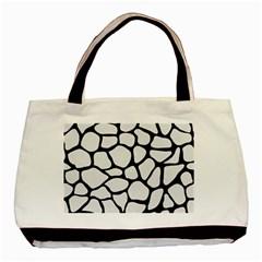 Skin1 Black Marble & White Linen (r) Basic Tote Bag by trendistuff