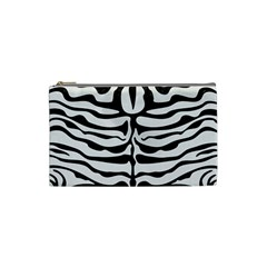 Skin2 Black Marble & White Linen Cosmetic Bag (small)  by trendistuff