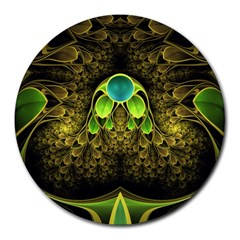 Beautiful Gold And Green Fractal Peacock Feathers Round Mousepads