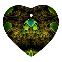 Beautiful Gold And Green Fractal Peacock Feathers Ornament (heart)