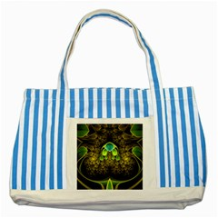 Beautiful Gold And Green Fractal Peacock Feathers Striped Blue Tote Bag by jayaprime