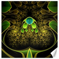 Beautiful Gold And Green Fractal Peacock Feathers Canvas 16  X 16   by beautifulfractals