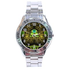 Beautiful Gold And Green Fractal Peacock Feathers Stainless Steel Analogue Watch by jayaprime