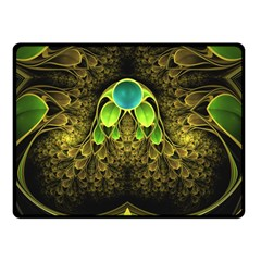 Beautiful Gold And Green Fractal Peacock Feathers Double Sided Fleece Blanket (small)