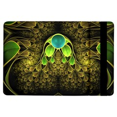 Beautiful Gold And Green Fractal Peacock Feathers Ipad Air Flip by jayaprime