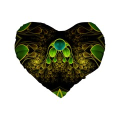 Beautiful Gold And Green Fractal Peacock Feathers Standard 16  Premium Flano Heart Shape Cushions by jayaprime