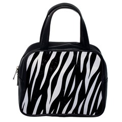 Skin3 Black Marble & White Linen (r) Classic Handbags (one Side) by trendistuff