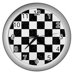 Square1 Black Marble & White Linen Wall Clocks (silver)  by trendistuff