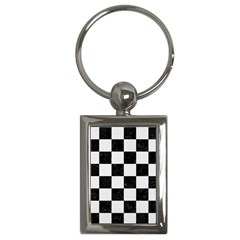Square1 Black Marble & White Linen Key Chains (rectangle)  by trendistuff
