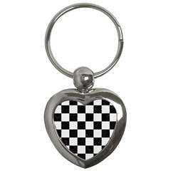 Square1 Black Marble & White Linen Key Chains (heart)  by trendistuff