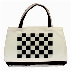 Square1 Black Marble & White Linen Basic Tote Bag by trendistuff