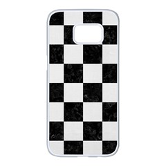 Square1 Black Marble & White Linen Samsung Galaxy S7 Edge White Seamless Case