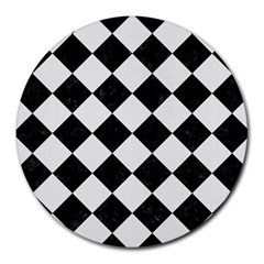 Square2 Black Marble & White Linen Round Mousepads