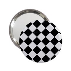 Square2 Black Marble & White Linen 2 25  Handbag Mirrors