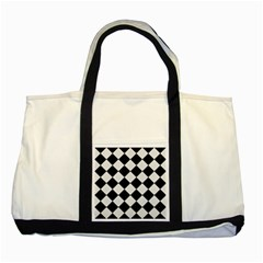 Square2 Black Marble & White Linen Two Tone Tote Bag by trendistuff