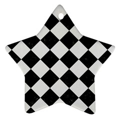 Square2 Black Marble & White Linen Star Ornament (two Sides)