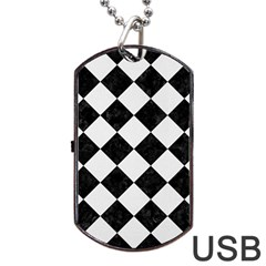 Square2 Black Marble & White Linen Dog Tag Usb Flash (one Side) by trendistuff