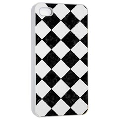 Square2 Black Marble & White Linen Apple Iphone 4/4s Seamless Case (white) by trendistuff