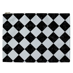 Square2 Black Marble & White Linen Cosmetic Bag (xxl)  by trendistuff